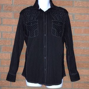 Roar Men's Black Striped Shirt